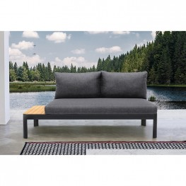 Portals Outdoor Sofa in Black Finish with Natural Teak Wood Accent and Grey Cushions