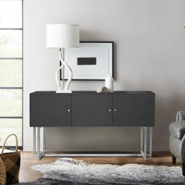 Prague Contemporary Buffet in Brushed Stainless Steel Finish and Gray Wood