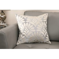 Gisela Contemporary Decorative Feather and Down Throw Pillow In Silver Jacquard Fabric