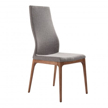 Parker Mid-Century Dining Chair in Walnut Finish and Gray Fabric - Set of 2