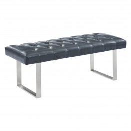 Plaza Contemporary Bench in Grey Faux Leather and Brushed Stainless Steel Finish