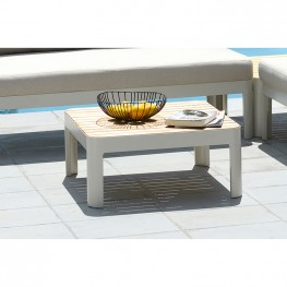 Portals Outdoor Square Coffee Table in Light Matte Sand Finish with Natural Teak Wood Top
