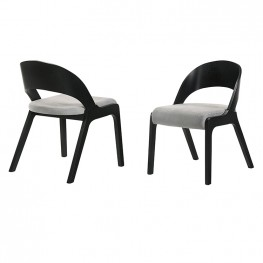 Polly  Mid-Century Modern Dining Accent Chairs in Black Finish and Grey Fabric - Set of 2