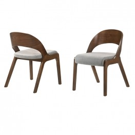 Polly  Mid-Century Modern Dining Accent Chairs in Walnut Finish and Grey Fabric - Set of 2