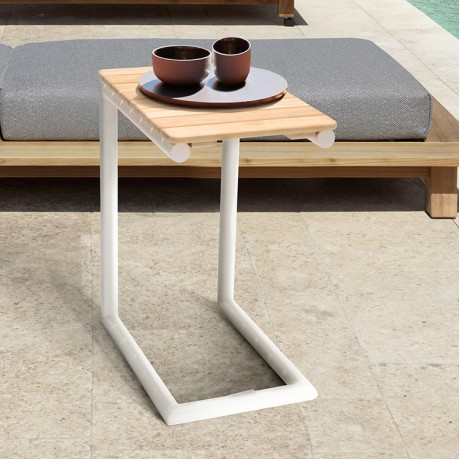 Portals Outdoor C-Shape Side Table in Light Sand Matte Finish and Natural Teak Wood Top