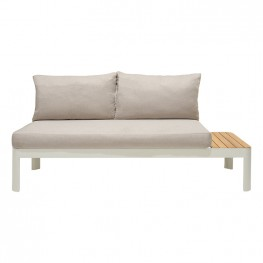 Portals Outdoor Sofa in Light Matte Sand Finish with Natural Teak Wood and Beige Cushions