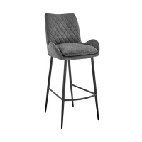 """Panama 26"""" Counter Height Bar Stool in Charcoal Fabric and Black Finish"""