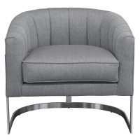 Armen Living Paloma Contemporary Accent Chair in Brushed Stainless Steel Finish with Grey Fabric
