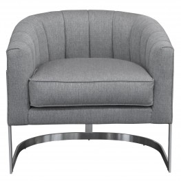 Paloma Contemporary Accent Chair in Brushed Stainless Steel Finish with Grey Fabric