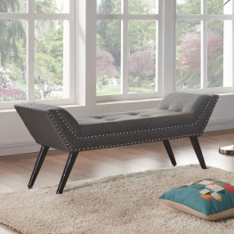Porter Ottoman Bench in Charcoal Fabric with Nailhead Trim and Espresso Wood Legs