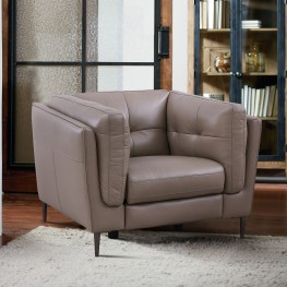 Primrose Contemporary Chair in Dark Metal Finish and Greige Genuine Leather