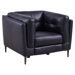 Primrose Contemporary Chair in Dark Metal Finish and Navy Genuine Leather