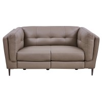 Primrose Greige Contemporary Top Grain Leather Power Recliner Loveseat with USB