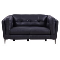Primrose Navy Contemporary Top Grain Leather Power Recliner Loveseat with USB