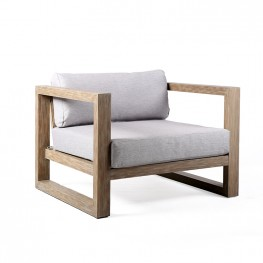 Paradise Solid Light Eucalyptus Outdoor Patio Lounge Chair with An-teak Finish and Light Gray Fabric