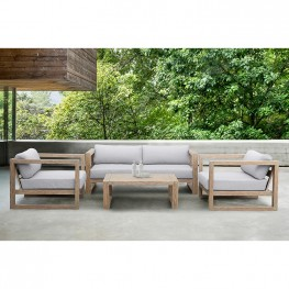 Paradise Outdoor Light Eucalyptus Wood Lounge Chair with Grey Cushions