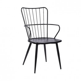 Parisa High Back Steel Framed Side Chair in Black Powder Coated Finish and Black Brushed Wood