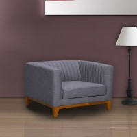 Prism Mid-Century Sofa Chair in Champagne Finish and Dark Grey Fabric with Rubber Wood