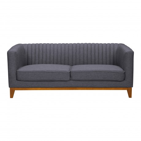Prism Mid-Century Loveseat in Champagne Finish and Dark Grey Fabric with Rubber Wood