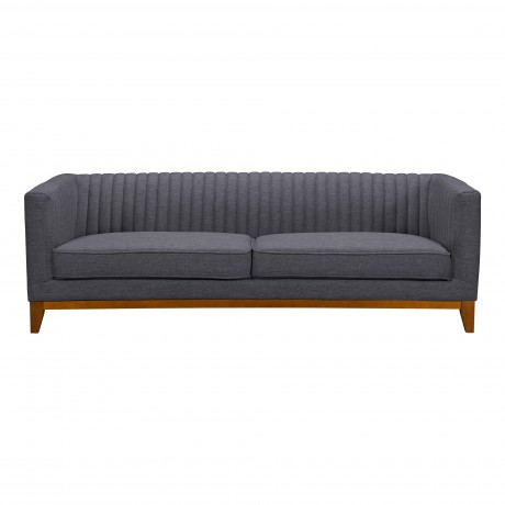Prism Mid-Century Sofa in Champagne Finish and Dark Grey Fabric with Rubber Wood