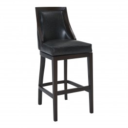 "Presley 26"" Counter Height Barstool in Espresso Finish and Onyx Faux Leather"