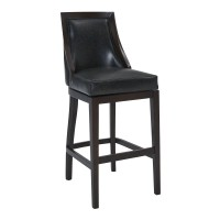 "Presley 30"" Bar Height Barstool in Espresso Finish and Onyx Faux Leather"