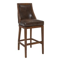 "Presley 26"" Counter Height Barstool in Distressed Finish and Brown Stone Faux Leather"