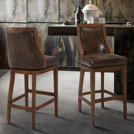 "Presley 30"" Bar Height Barstool in Distressed Finish and Brown Stone Faux Leather"