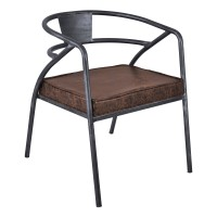 Paisley Modern Dining Chair in Industrial Grey Finish and Brown Fabric - Set of 2