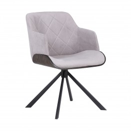 Puma Mid-Century Dining Chair in Black Powder Coated Finish with Grey Velvet and Walnut Glazed Finish