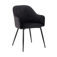 Pixie Black and Dark Grey Fabric Dining Room Chair with Black Metal Legs