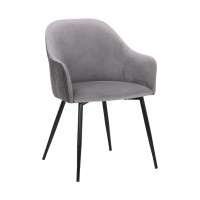 Pixie Dark Grey and Black Fabric Dining Room Chair with Black Metal Legs