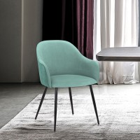 Pixie Two Tone Teal Fabric Dining Room Chair with Black Metal Legs