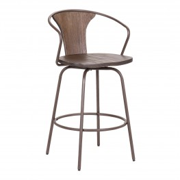 "Payton Industrial 26"" Swivel Walnut Wood and Metal Bar Stool"