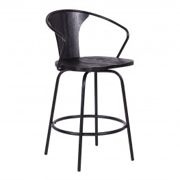 "Payton Industrial 26"" Swivel Black Wood and Metal Bar Stool"