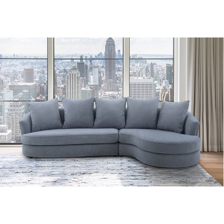 Queenly Gray Fabric Uphostered Corner Sofa