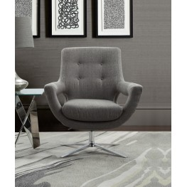 Armen Living Quinn Contemporary Adjustable Swivel Accent Chair in Polished Chrome Finish with Grey Fabric