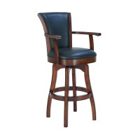 "Raleigh Arm 26"" Counter Height Swivel Barstool in Rustic Cordovan Finish and Brown Bonded Leather"
