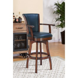 """Raleigh Arm 30""""Bar Height Swivel Barstool in Rustic Cordovan Finish and Brown Bonded Leather"""