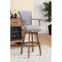 "Raleigh Arm 30"" Bar Height Swivel Barstool in Distressed Oak Finish and Putty Ivory Linen"