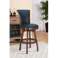 "Raleigh 26"" Counter Height Swivel Barstool in Rustic Cordovan Finish and Brown Bonded Leather"