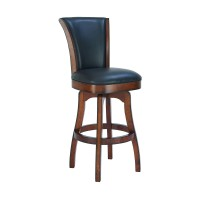 "Raleigh 30"" Bar Height Swivel Barstool in Rustic Cordovan Finish and Brown Bonded Leather"