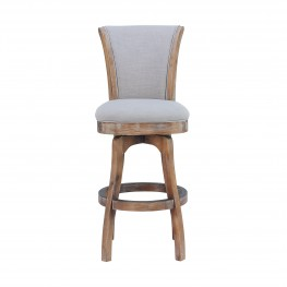 "Raleigh 26"" Counter Height Swivel Barstool in Distressed Oak Finish and Putty Ivory Linen"