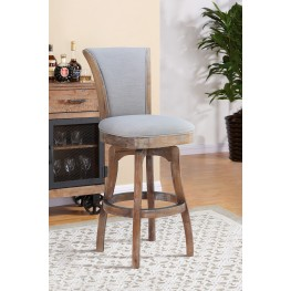 "Raleigh 30"" Bar Height Swivel Barstool in Distressed Oak Finish and Putty Ivory Linen"