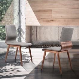 Robin Mid-Century Dining Chair in Walnut Finish and Gray Fabric - Set of 2