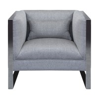 Armen Living Royce Contemporary Chair With Polished Stainless Steel and Grey Fabric