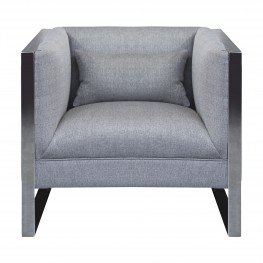 Royce Contemporary Chair With Polished Stainless Steel and Grey Fabric