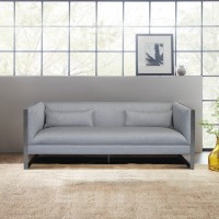Armen Living Royce Contemporary Sofa with Polished Stainless Steel and Grey Fabric