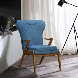 Ryder Mid-Century Accent Chair in Champagne Finish and Blue Fabric with Ash Wood