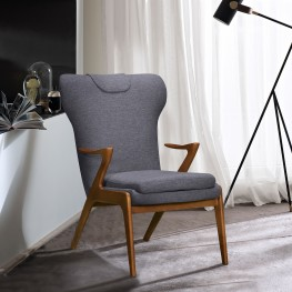 Ryder Mid-Century Accent Chair in Champagne Finish and Dark Grey Fabric with Ash Wood